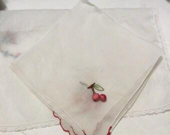 Valentine's Day handkerchief, vintage handkerchief, vintage hankie, vintage hanky, red handkerchief, cherries handkerchief
