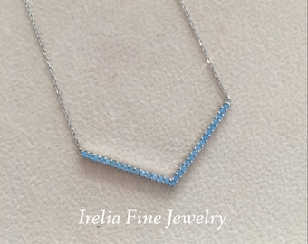 """Sterling Silver Opaque Blue CZ 'V' Pendant Necklace On 17"""" Chain With 2in Ext. ---Free Shipping"""