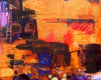 Southwestern Mixed Media Collage Canvas Cliff Dwellers