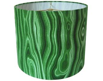 Custom Lamp Shade - Gemstone Lampshade - Malachite Lamp Shade - Malakos by Robert Allen for Dwell Studio - Green Lamp Shade - Made to Order