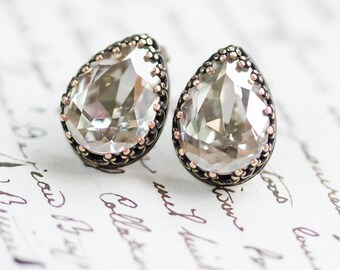 Grey Diamond Crystal Stud Earrings - FREE SHIPPING