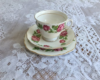 "Vintage Royal Vale Bone China Tea Cup Trio in ""Ring a Ring of Roses"" Pattern"