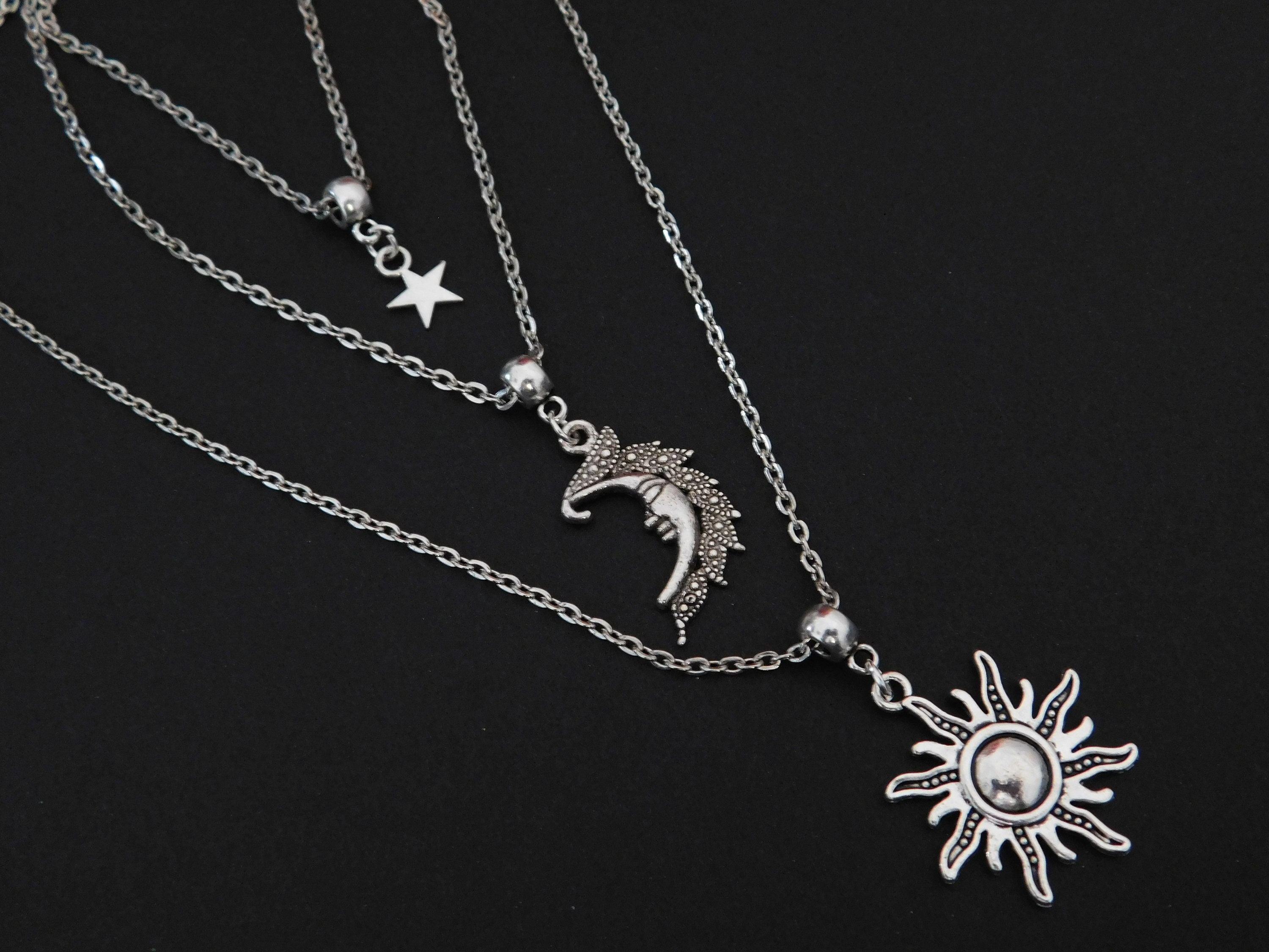 moon celestial sun silver triple handmade listing pagan adjustable mhaw necklace star fullxfull il wicca