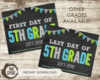 Printable First and Last Day of 5th Grade School Chalkboard Sign, Back to School Sign, School Chalkboard Poster, INSTANT DOWNLOAD