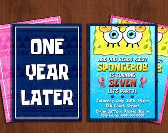 Custom Spongebob Squarepants Birthday Invitation Card  - 5x7 or 4x6