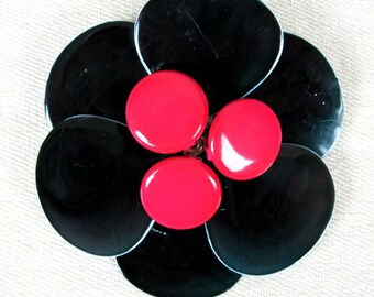 Vintage 1960s MOD Black and Pink Flower Brooch Pin Fabulous