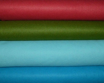 Wool Blend Felt. Strawberry Dream; Moss, Alluring Aqua; and Blue Bayou. - Choose your cut and color