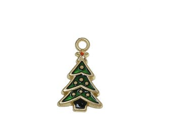 x 1 pendant charm 23 mm gold tone and green enamel Christmas tree.