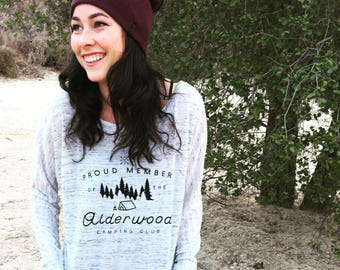 Alderwood Camping Club / Cute / Hipster / Outdoors / Flowy Long-Sleeve Off Shoulder T-Shirt Cyber Monday Sale