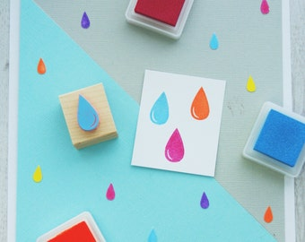 Raindrop Rubber Stamp -  Weather Rubber Stamp - Water Stamper - Rain Drop -  Storm Cloud - Gift for Cloud Lover - Sky - Cloudy - Rainy Day