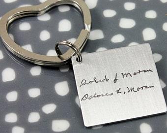 "handwriting keychain, nickel keychain, actual handwriting keychain, 1"" keychain, handwriting keepsake, stocking stuffer, signature keychain"