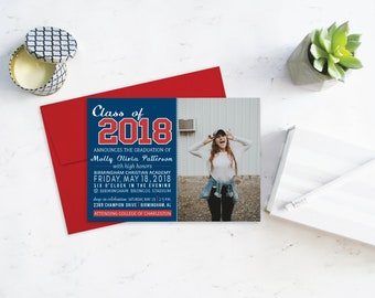 Class of 2018 Graduation Announcement, Red, White and Blue , High School Graduation Party Invitation, Graduation Celebration Invitations