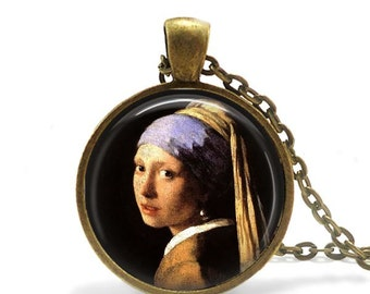 The girl with a pearl earring necklace vermeer painting art pendant necklace famous artist jewelry.