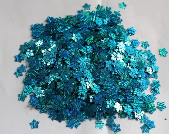 100 Metallic Turquoise color/Flower sequins/Lines texture/KBSF677