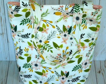 Tote bag ( No Zipper) / Travel bag/ Floral bags