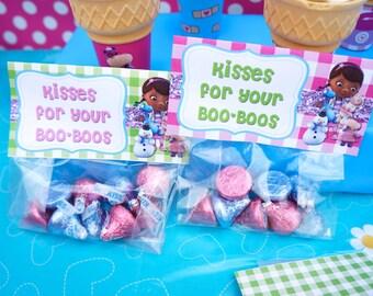 Disney Jr Doc McStuffins Birthday Party Valentine's Day Favor Cellophane Bag Topper Label, Instant download