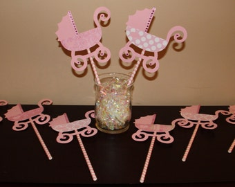 Pink Baby Carriage Centerpiece Decoration/Pick for Baby Shower or Baby Girl