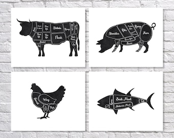 Butcher Art Print, Butcher Chart, Kitchen Art Print, Butcher Diagram, Set of 4 Prints, Kitchen Wall Art, Meat Cuts, Rustic Kitchen Art