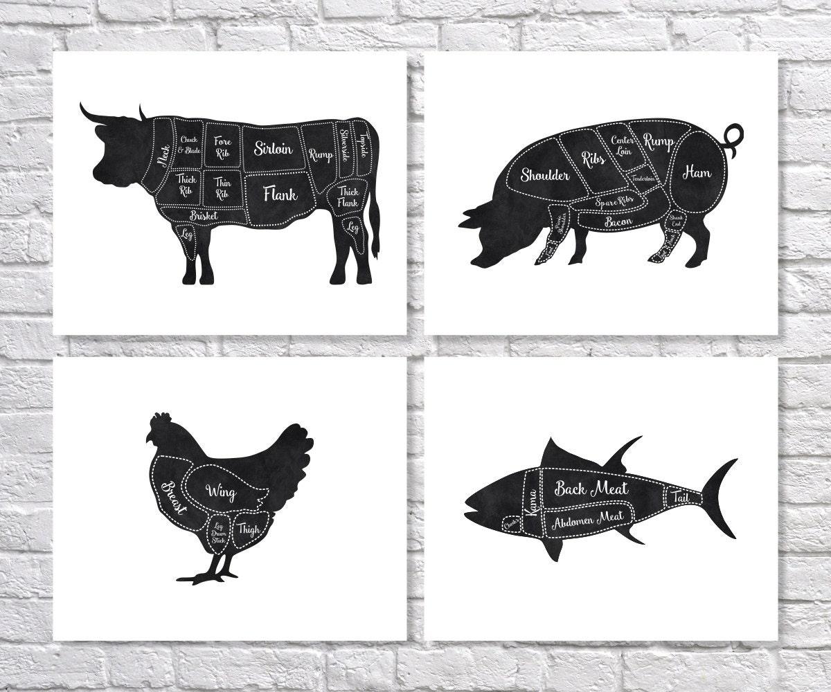 Butcher Art Print Butcher Chart Kitchen Art Print Butcher
