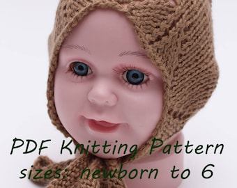 pdf knitting pattern, pdf knitting tutorial, baby bonnet, newborn bonnet, toddler bonnet, spring bonnet, knit pattern baby, bonnet pattern