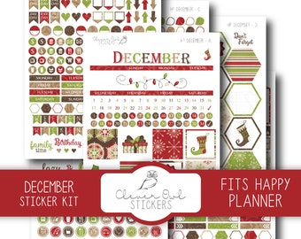 December Planner Stickers, Sticker Kit, Planner Stickers, Happy Planner Stickers