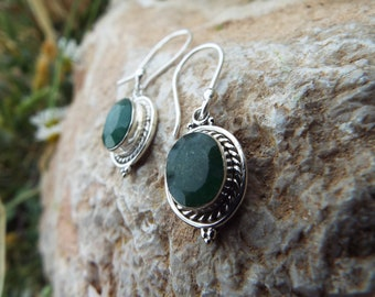 Emerald Earrings Sterling Silver 925 Drop Dangle Handmade Gemstone Jewelry