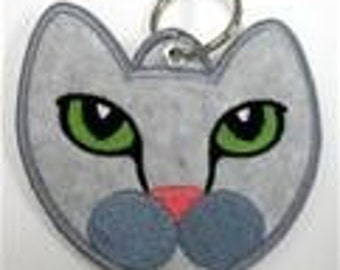 Cat Face Embroidered Keychain