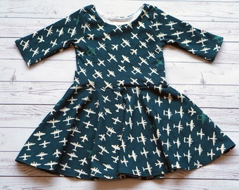 Airplane Dress. Plane Dress. Organic Dress. Baby Dress. Toddler Dress. Little Girl Dress. Twirl Dress. Twirly Dress. Play Dress.