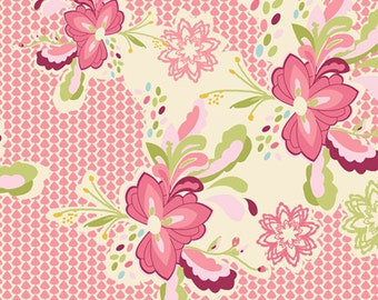 Pink Floral Fabric, Art Gallery Fabrics, Bari J, Flowerpop Sweet, LB-2102, Cotton Fabric, Baby Girl Quilt, Quilting, Fabric By the Yard