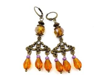 Retro Stud Earrings vintage Topaz brass bronze