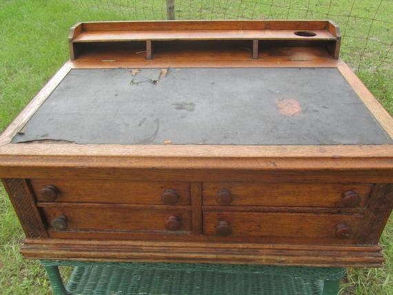 Like this item? - Antique Spool Cabinet Table Top Desk Oak Cabinet Cotton