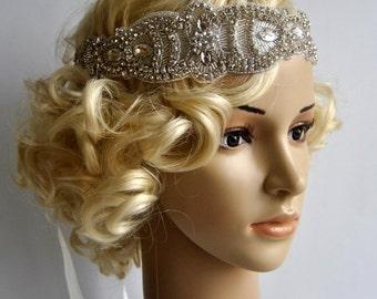 Glamour Rhinestone flapper Gatsby Headband, Wedding Crystal Bridal Headband, Wedding Headpiece, Bridal Headpiece, 1920s Flapper headband