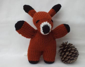Knitted Fox, Woodland Animal, Large Size Fox, Stuffed Soft Animal