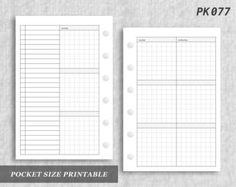 Pocket Size Printable Vertical Wo4P Grid Weekly Week on Four 4 Page Wo4 Graph Digital Download PK077
