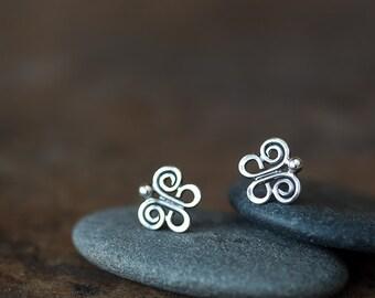 Tiny Butterfly Stud Earrings, 9mm small butterfly earrings, unique handmade artisan earrings, 925 sterling silver cute insect earrings