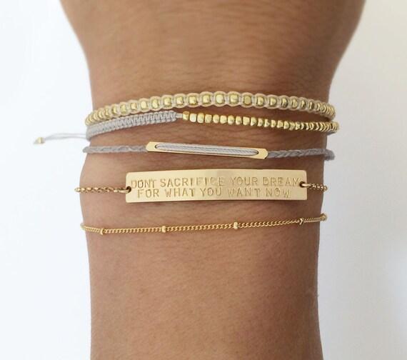 Personalized OR Blank Gold Bar Bracelet Name Bar Bracelet