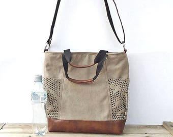 Waxed canvas bag zipper, large crossbody purse with external pockets, vegan leather beige bag, canvas tote bag, hobo bag, small travel bag