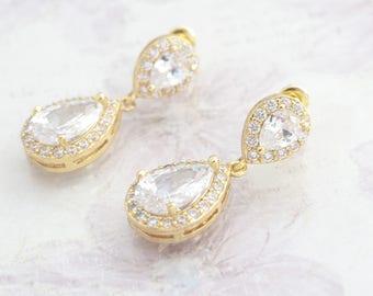 Wedding Earrings Bridal Jewelry Gold Zirconia Earrings Wedding Jewelry Gold Bridesmaid Earrings Bridal Drop Earrings Wedding Accessory