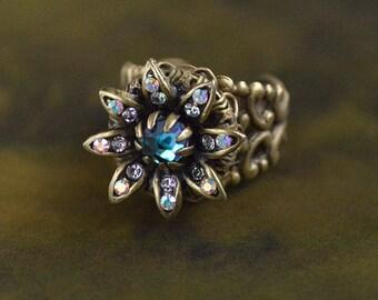 Wild Flower Daisy Ring, Flower Ring, Daisy Ring, Vintage Flower Ring, Hippie Flower Ring, Antique Flower Ring, Gold Flower Ring R552
