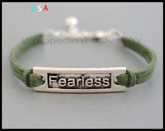 FEARLESS Charm Bracelet - Silver Affirmation / Word / Inspiration Charm Faux Suede Cord Stacking Bracelet - Statement Jewelry - USA