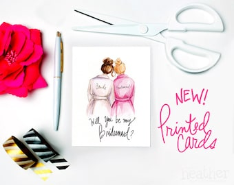 NEW-PRINTED Bridesmaid card-Will you be my Bridesmaid? Card, Brunette Bride, Blonde Bridesmaid, Bridesmaid Proposal