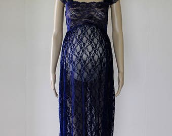 Navy Blue Lace Maternity Dress Gown - Photo Photography Prop