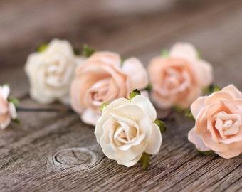 Pale Peach Wedding Bobby Pins, Floral Hair Pins Peach, Flower Hair Pins, Champagne Floral Bobby Pins, Bridal Hair Pins, Small Rose Hair Pins