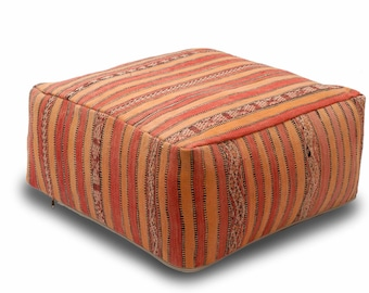 Moroccan Pouf, Floor Cushion, Kilim Pouf Ottoman, Floor Pillow, Foot Stool, Refashioned from a Vintage Moroccan Berber Rug. A020