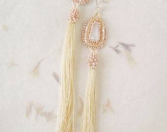 Long earrings tassel Peach.  Long earrings tassel. Bead earrings.