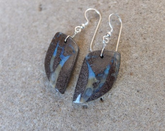 Blue brown Boulder Opal earrings, precious natural stone jewelry - handmade in Australia by NaturesArtMelbourne - unique gem stone earrings