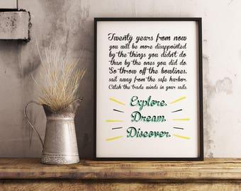 Explore Dream Adventure fake Mark Twain quote. Paper print