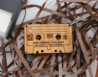 Wood laser cut pendant necklace Retro cassette tape on stainless steel chain