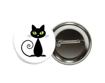 Large badge cat black and white, fun gift, funny gift, cheap gift