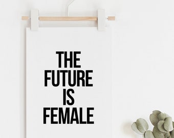 Female Print, Typography Arts, Minimalist Decor, Black and White, Typography Prints, Scandinavian Posters, The Future Is Female